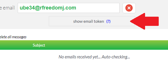 Show Email Token